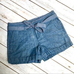 LOFT chambray tie-waist shorts